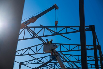 Metal construction work for commercial space